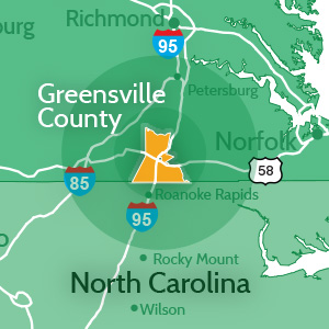 60 Mile Radius of Greensville County